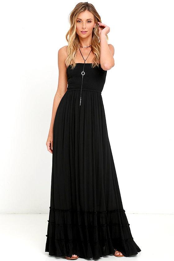 Lovely Black Dress Strapless Dress Maxi Dress 7800