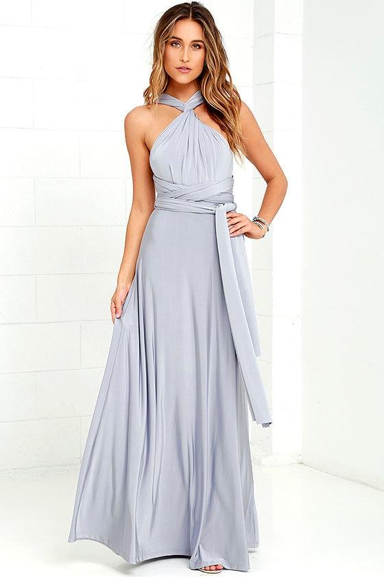 Pretty Maxi Dress - Convertible Dress - Light Grey Dress - Infinity ...