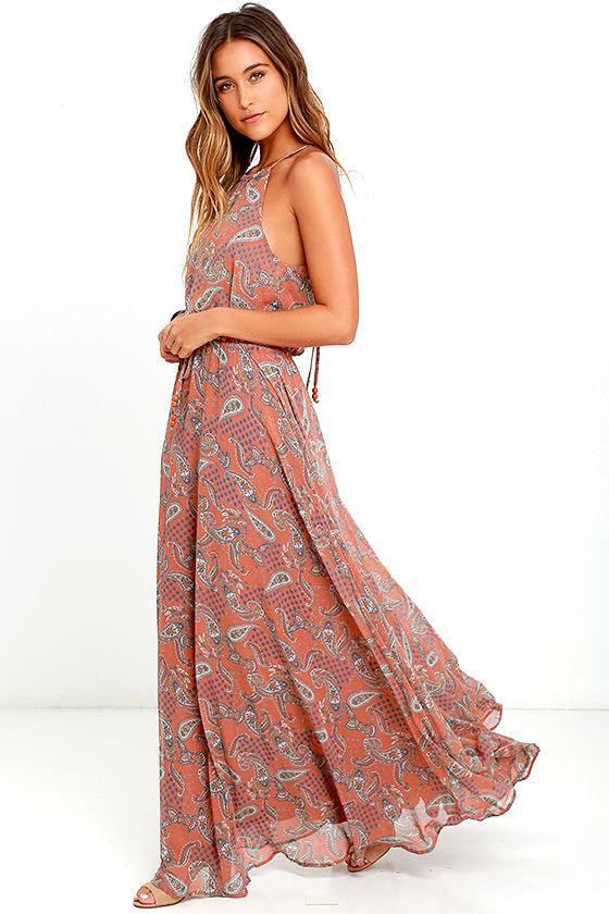 Lovely Rust Orange Dress - Paisley Print Dress - Maxi Dress - $89.00
