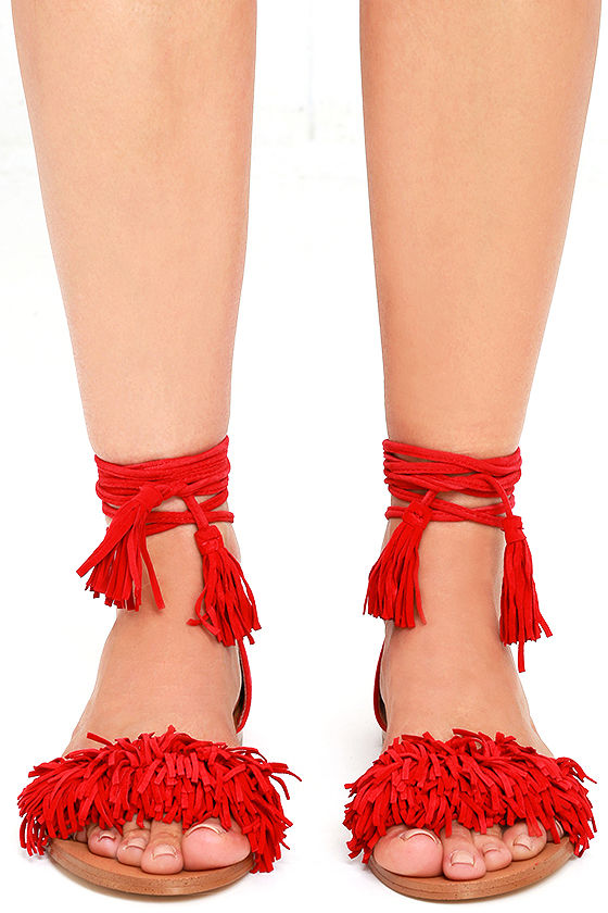 Cute Red Suede Sandals Lace Up Sandals Flat Sandals