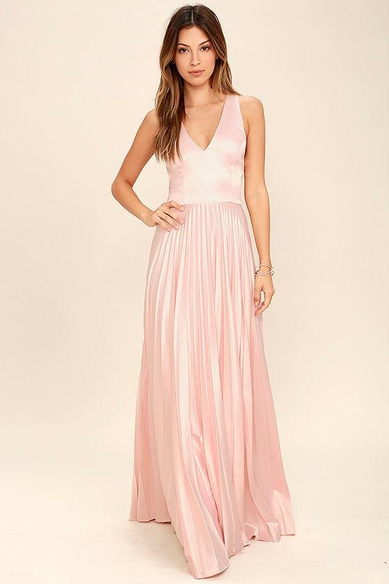 Epic night blush pink satin maxi dress