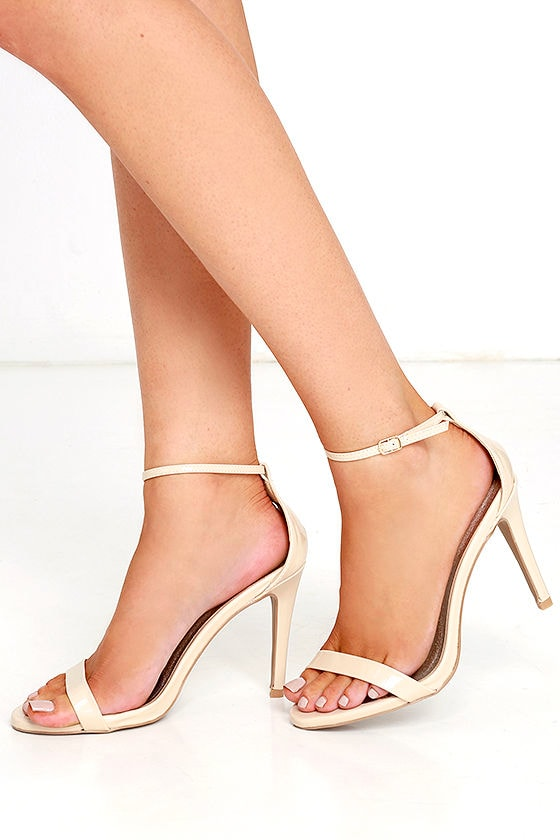 Afternoon Wide Fit Nude Patent Perspex Block Heels
