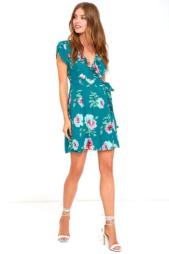 Mink Pink Pretty Primrose - Teal Blue Dress - Floral Print Wrap ...