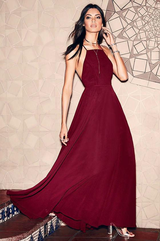 Beautiful Wine Red Dress Maxi Dress Backless Maxi Dress
