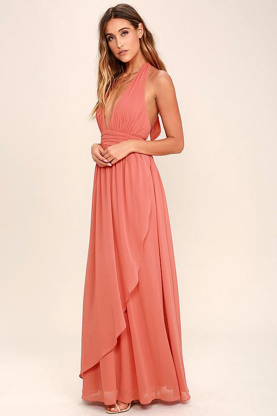 Lovely Terra Cotta Dress - Maxi Dress - Halter Dress - $84.00