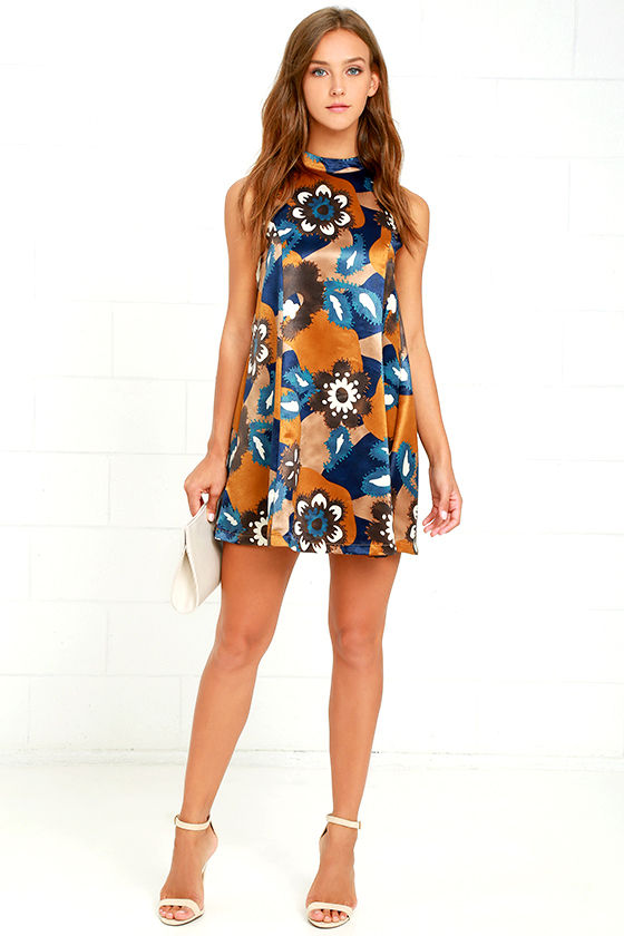 Moon River Dress - Brown and Blue Print Dress - Swing Dress ...