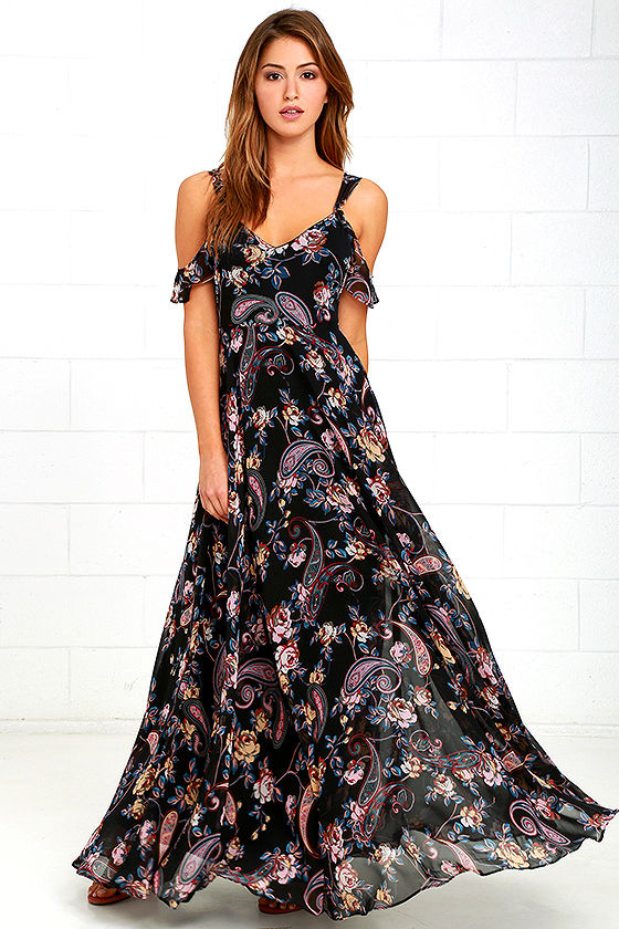 Stunning Pink And Black Floral Dress Maxi Dress Gown Formal