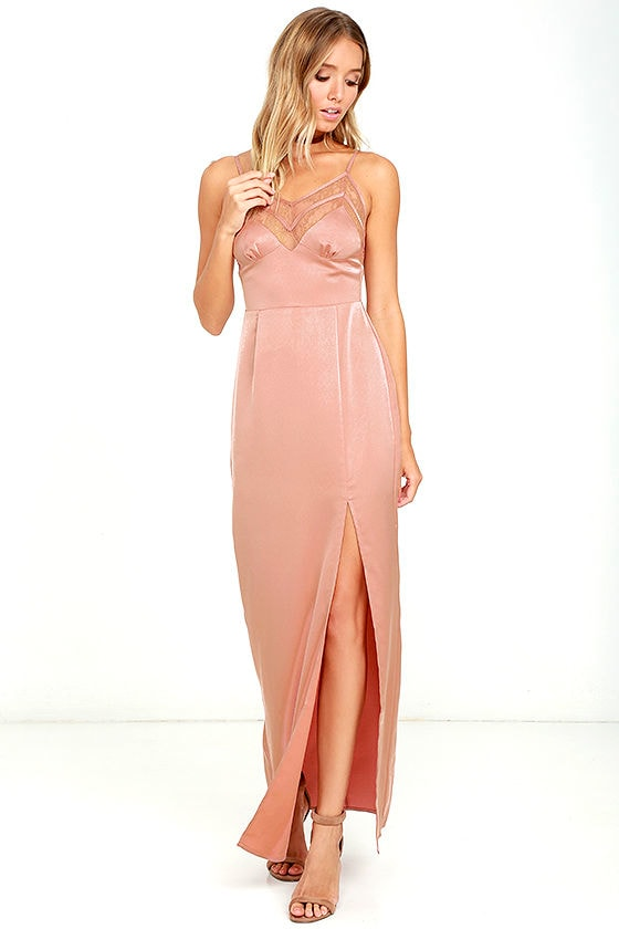 NBD Daisy Dress - Blush Dress - Lace Dress - Maxi Dress - Satin Maxi