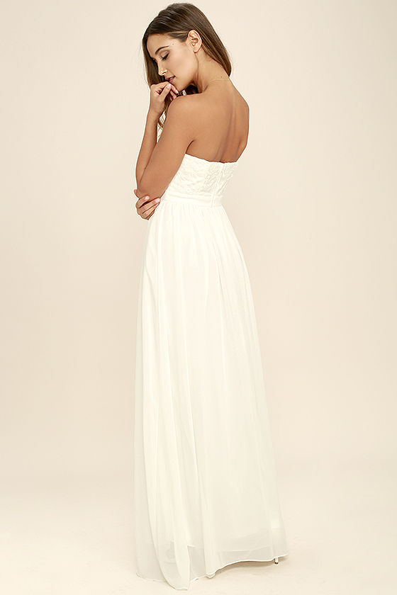 Lovely Ivory Maxi Dress - Embroidered Maxi Dress - Strapless Maxi ...