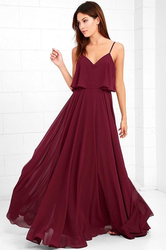 Stunning Burgundy Dress - Maxi Dress - Gown - $78.00