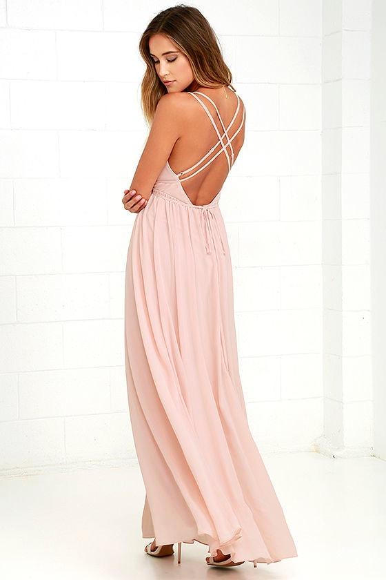 Pink cocktail dress maxi