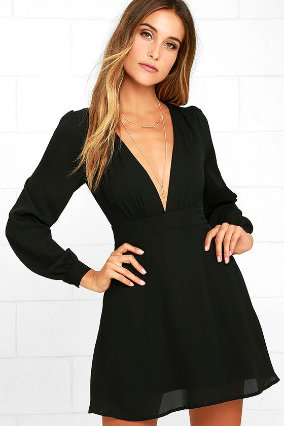 Cute Black Dress Long Sleeve Dress Homecoming Dress 5900