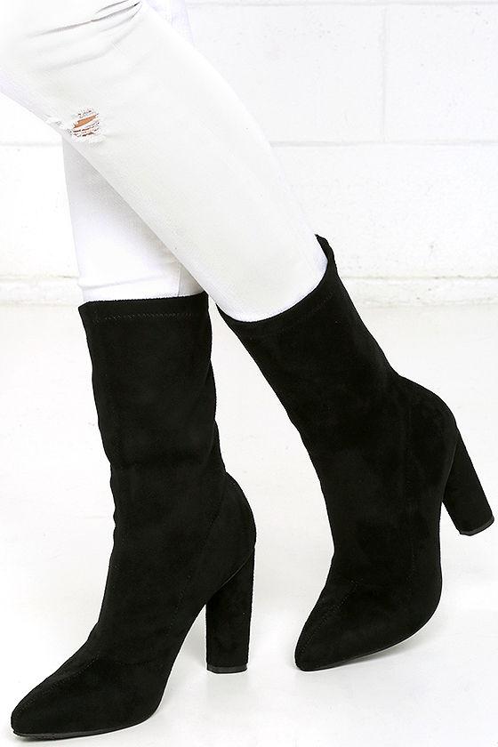 black high heel boots vegan suede boots mid calf boots 47 00