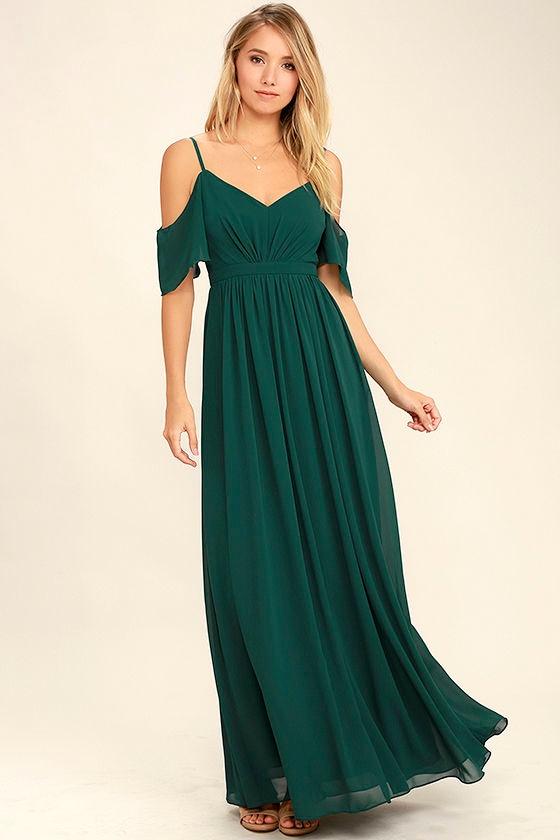 Stunning Maxi Dress Gown Dark Green Dress Formal Dress 8400