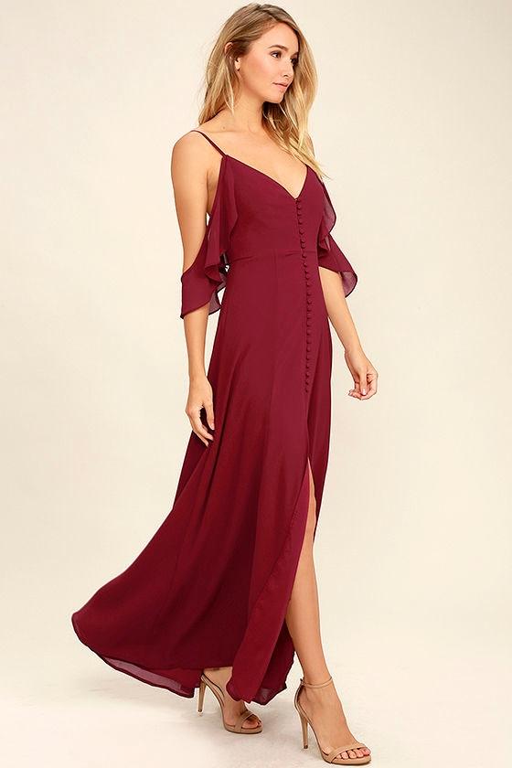 Lovely Wine Red Dress Maxi Dress Dance Dress 8400