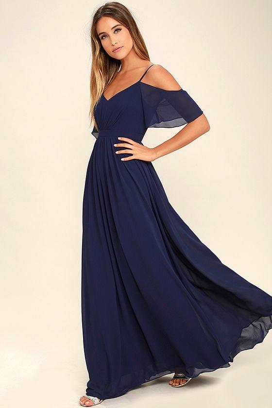 Stunning Maxi Dress Gown Navy Blue Dress Formal Dress 8400