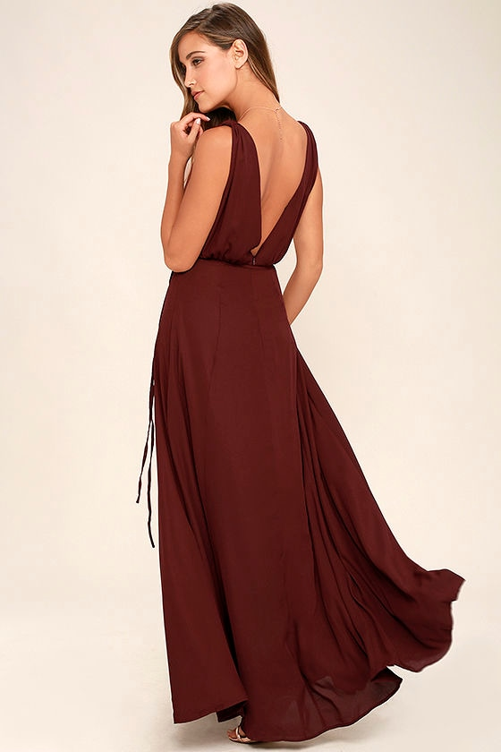 Lovely Burgundy Dress Maxi Dress Bridesmaid Dress 84 00