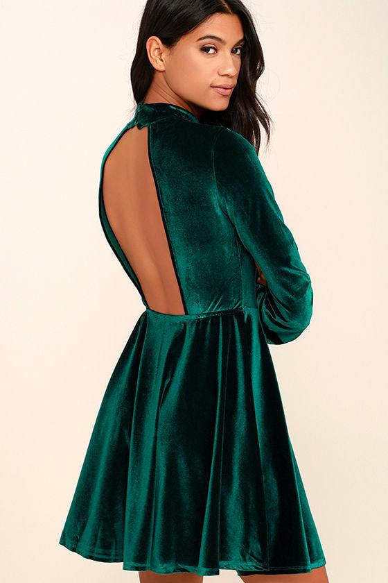 Lovely Forest Green Dress - Backless Dress - Skater Dress - Velvet ...
