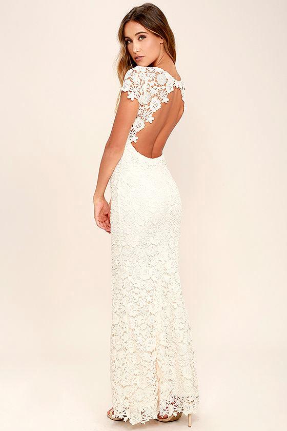 Beautiful Cream Lace Dress Backless Bodycon Dress