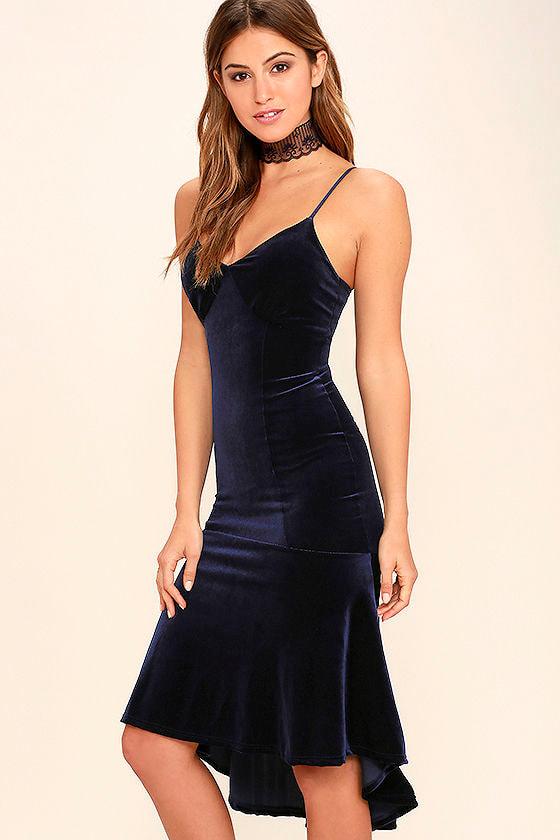 Cute Navy Blue Dress - Blue Velvet Midi Dress - Mermaid ...