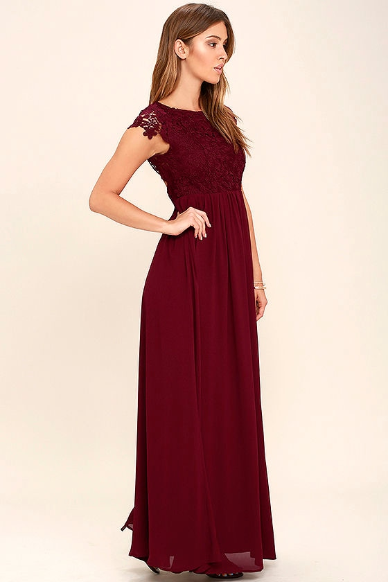 Lovely Burgundy Dress - Lace Dress - Maxi Dress - $86.00