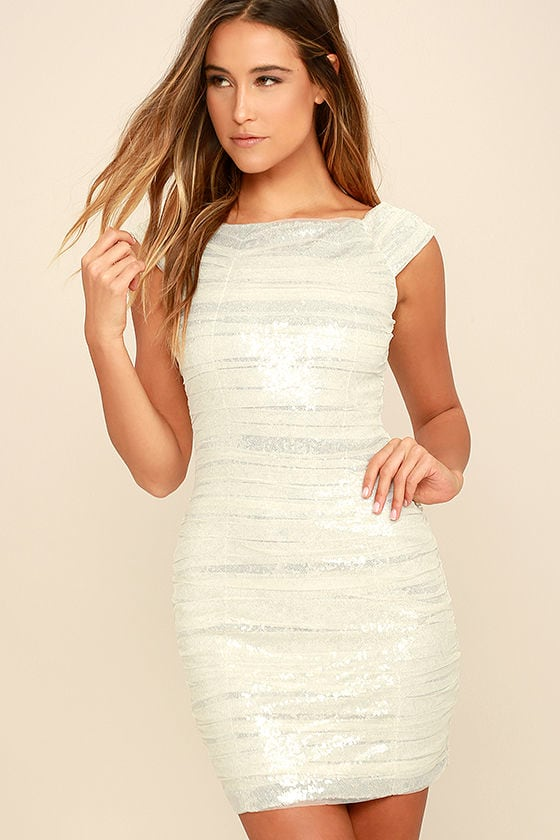 Stunning Silver And White Sequin Dress Bodycon Dress