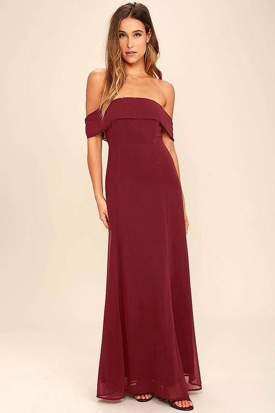 Lovely Wine Red Dress Off The Shoulder Dress Maxi Dress Gown