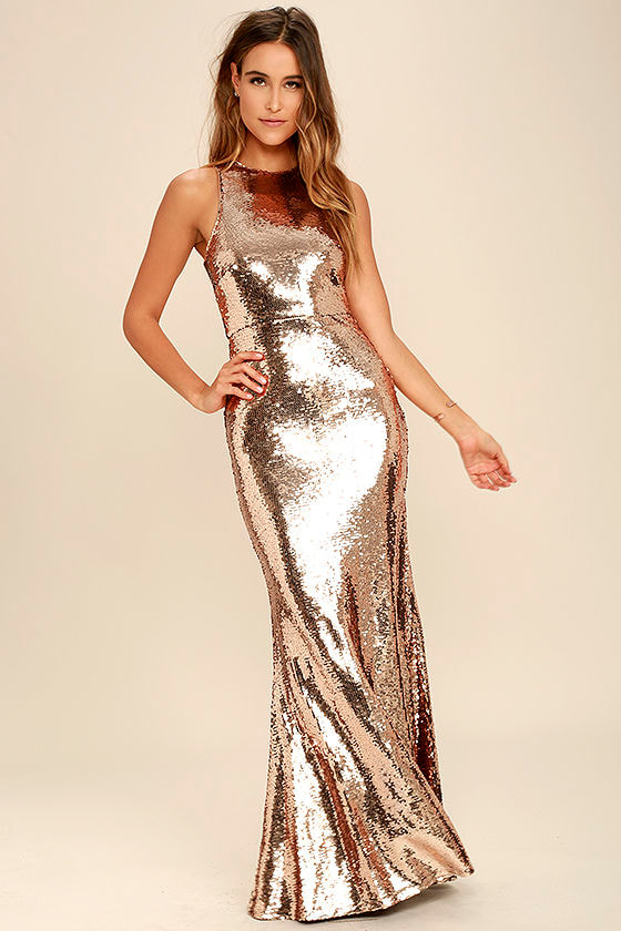 Lovely Rose Gold Dress - Maxi Dress - Sequin Dress