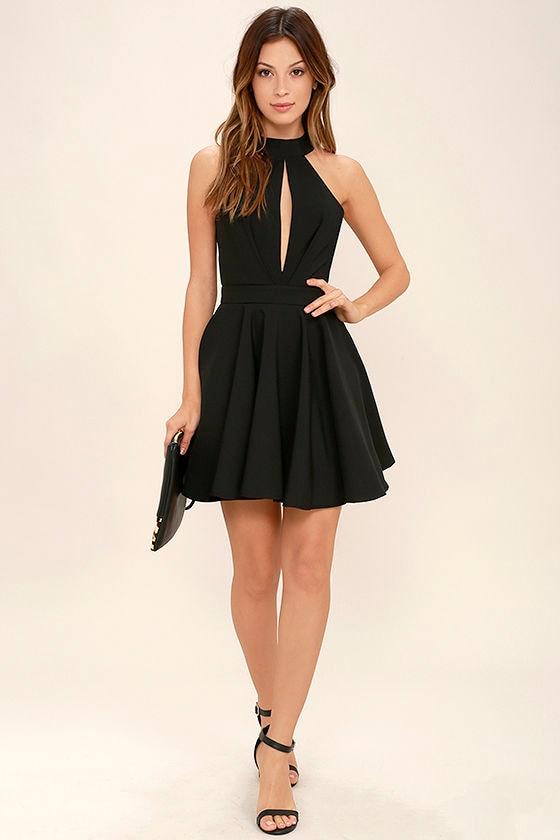 Sexy black skater dress