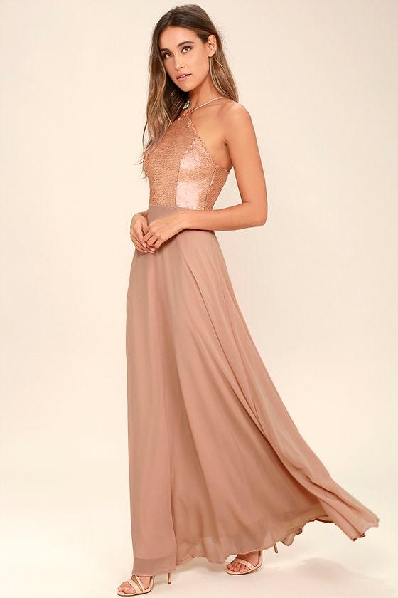 Lovely Matte Gold Dress - Maxi Dress - Sequin Dress - $89.00