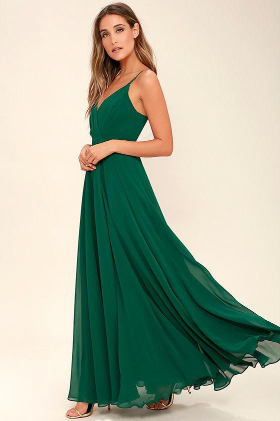 Lovely Dark Green Dress - Maxi Dress - Gown - Bridesmaid Dress - $97.00