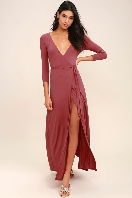 Lovely Rusty Rose Maxi Dress - Wrap Dress - Wrap Maxi Dress - $68.00