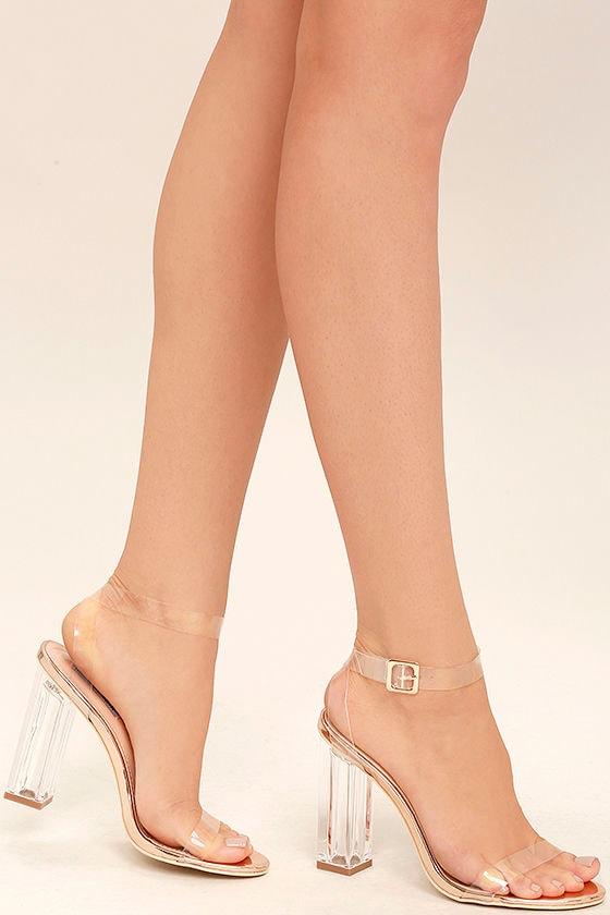 Sexy Clear Heels Lucite Heels Block Heels Rose Gold