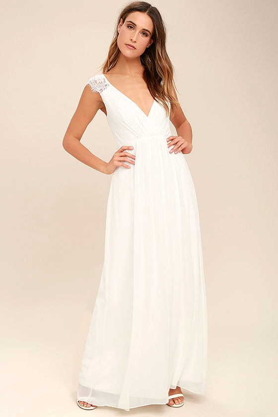 Lovely White Dress - Maxi Dress - Lace Dress - Gown - $109.00