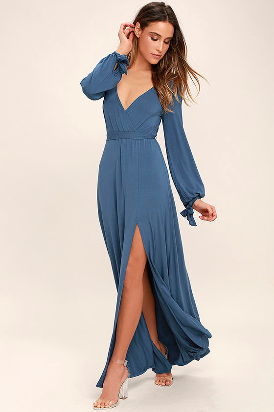 Lovely Slate Blue Dress - Maxi Dress - Long Sleeve Maxi Dress - $68.00