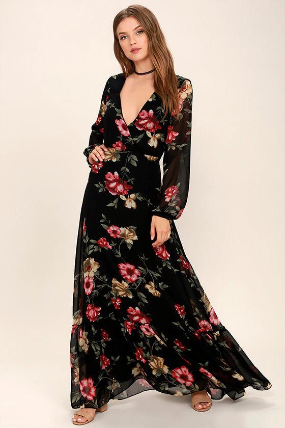 Stunning Black Floral Print Dress - Long Sleeve Maxi - Maxi Dress ...