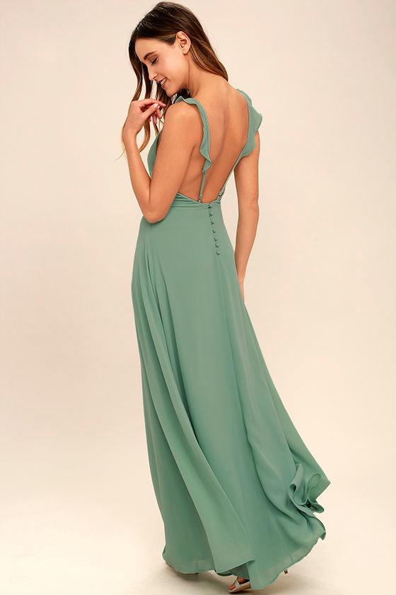 Lovely Sage Green Dress Maxi Dress Sleeveless Dress Bridesmaid