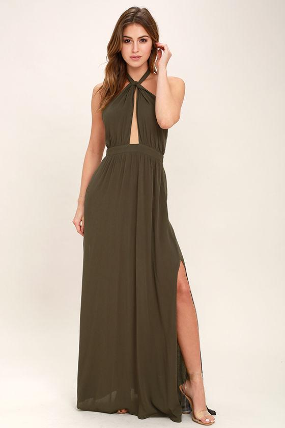 Sexy Olive Green Dress Maxi Dress Halter Dress 6800
