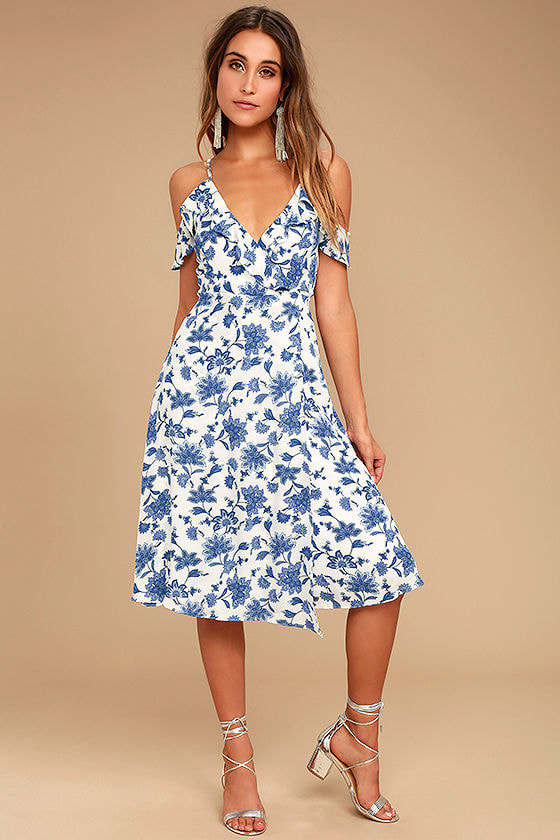 lovely blue and white dress floral print dress off the shoulder