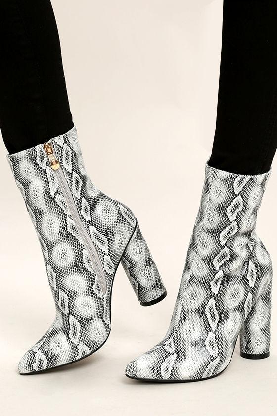 cool grey snake print boots mid calf boots print mid calf