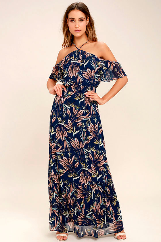 Dreamy Navy Blue Floral Print Dress Off The Shoulder Maxi Dress