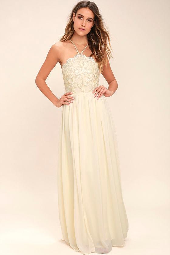 Lovely Cream Dress - Embroidered Dress - Maxi Dress - Formal Dress ...