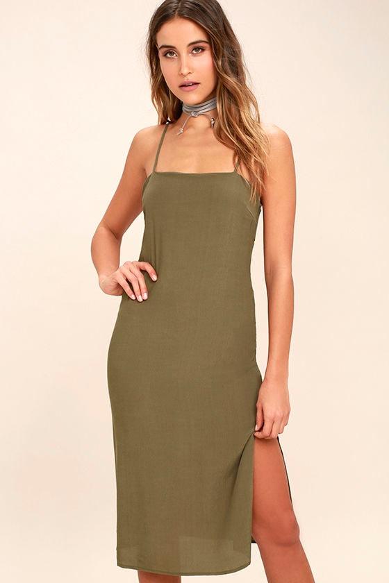 Chic Olive Green Dress Sheath Dress Midi Dress Cutout Dress