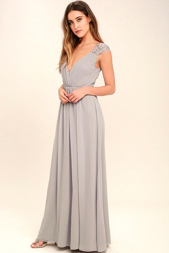 Whimsical Wonder Light Grey Lace Maxi Dress