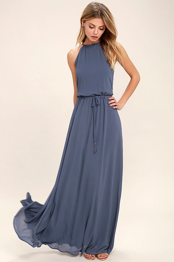 Lovely Denim Blue Dress Maxi Dress Sleeveless Dress 8600