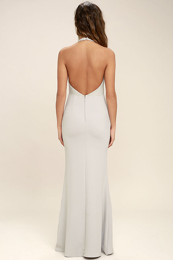 Lovely Grey Dress - Halter Dress - Maxi Dress - Lace Dress ...