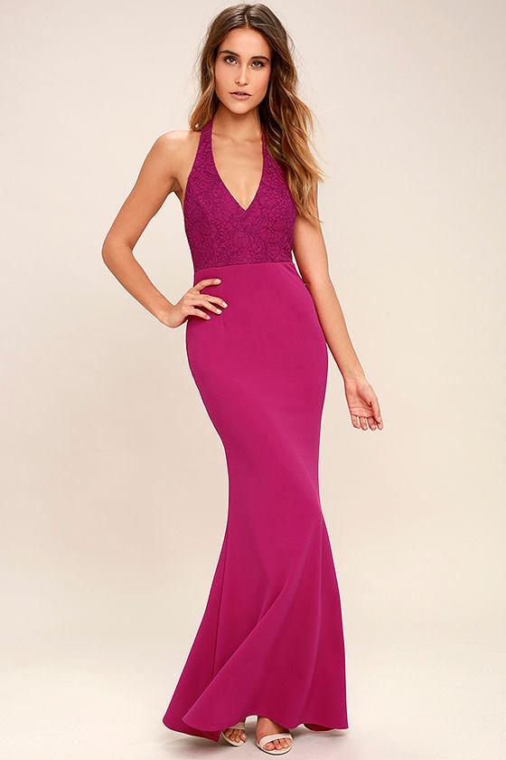 Fuchsia Dress - Halter Dress - Maxi Dress - Lace Dress