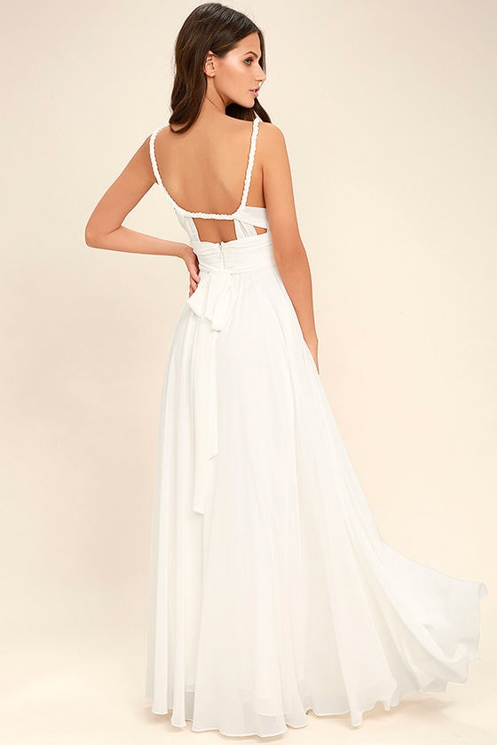 Lovely White Dress - Maxi Dress - Gown - Bridesmaid Dress - $112.00