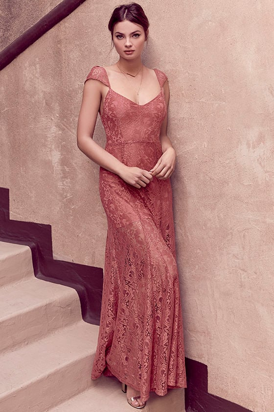 Lovely Rusty Rose Maxi Dress Lace Maxi Dress Elegant Lace Dress