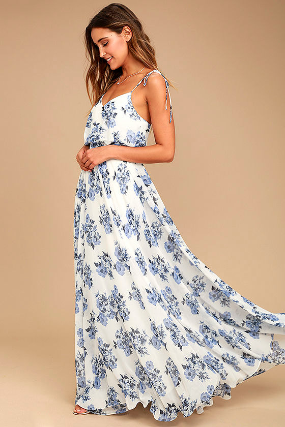 Stunning Blue and White Maxi Dress - Floral Print Maxi Dress - Print ...